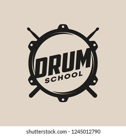 Vector logo of Drum school. Logotype, symbol, icon, graphic, vector. Rock music