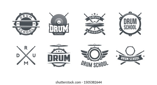 Vector logo of drum school. Logotype, symbol, icon, graphic, vector. Rock music. Drumkit tools. Isolated on white background.