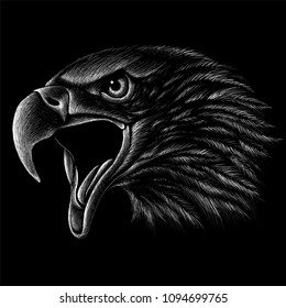 The Vector logo eagle for T-shirt design or outwear.  Hunting style eagle background.