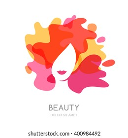 Vector logo, emblem design. Female face on abstract splash background. Beautiful woman with colorful hair. Concept for beauty salon, makeup, hairstyle, haircut, cosmetology.