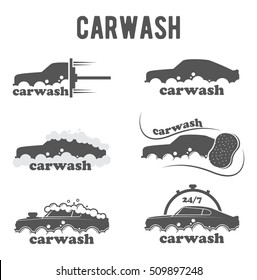 vector logo, emblem, icon, symbol, emblem for car washes. Service around the clock. Caring for your car, shampoo for transport
