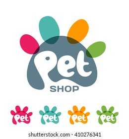 Vector logo, emblem, label design elements for pet shop, zoo shop, pets care and goods for animals. Hand drawn lettering in paw shape. Pet store signboard concept
