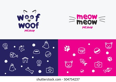 Vector logo, emblem, label design elements for pet shop, zoo shop, pets care and goods for animals. woof woof, meow meow, cat mustache, dog muzzle, Pet store signboard concept, bowl, bone, fish,