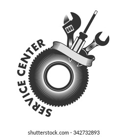 vector logo emblem to the service center for appliances, cars and other things on a white background