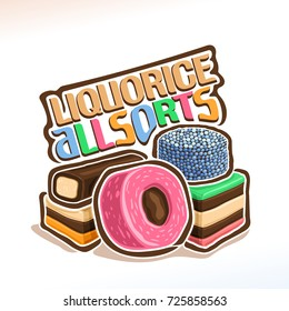 Vector logo for english candies Liquorice Allsorts, original typography typeface for colorful words liquorice allsorts, illustration of pile multicolored sweet licorice all sorts, yummy jelly sweets.