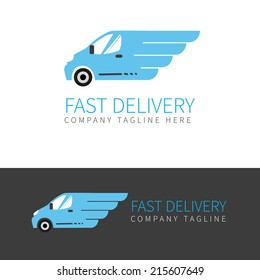 Vector logo of fast delivery van in two colors