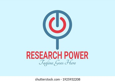 Vector logo flat element with a magnifying glass and power button illustration. Usable for common science and technology logos.