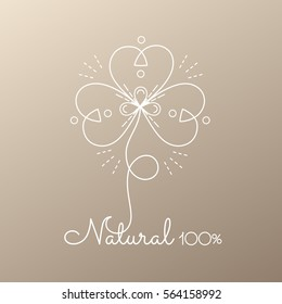 Vector logo of floral element. Abstract flower icon. Emblem for design of natural products, organic food, cosmetics and global ecology. Hand drawn illustration.