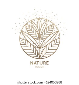 Vector logo of floral element. Abstract round blossoming flower with petals. Linear emblem for design of natural products, flower shop, cosmetics and ecology concepts, health, spa and yoga Center.