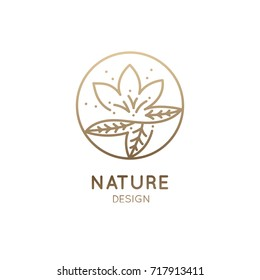 Vector logo of floral element. Abstract lotus flower outline icon. Linear round emblem for design of business, flower shop, cosmetics, health and ecology concepts, beauty saloon, spa and yoga.