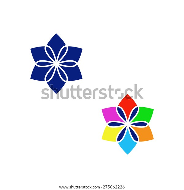 Vector Logo Flower Two Color Combinations Stock Vector Royalty Free