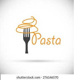 Vector logo fork with pasta