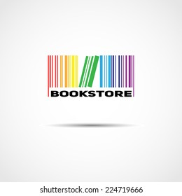 vector logo in the form of colored bar code and book