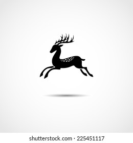 vector logo in the form of a leaping deer in black and white
