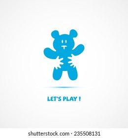 vector logo in the form of a teddy bear and hand