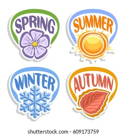 Vector logo Four Seasons: spring - lilac flower hibiscus, summer - hot sun shining, autumn - red october leaf, winter - blue cold snowflake, abstract icons all 4 seasons isolated on white background.