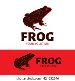 Vector logo frog. Red and black frog in spots. Brand logo