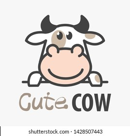 Vector Logo of сute funny smiling cartoon cow. Modern humorous logo template with image of the bull. Butchery logo. Can be use for advertising farm, market, butcher shop.