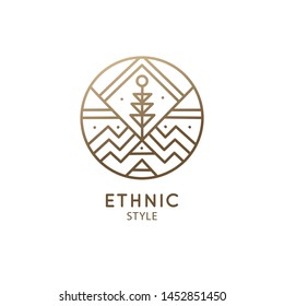 Vector logo of geometric elements, mountains with plant. Round sacred symbol. Outline icon of abstract shapes - business emblem for design tattoo, astrology, zen, ecology, health concepts, yoga Center