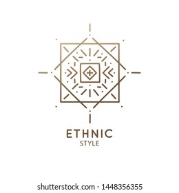 Vector logo of geometric elements template. Squire sacred symbol. Outline icon of abstract shapes - business emblem for design tattoo, packaging, zen, ecology, health concepts, yoga Center.