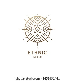Vector logo of geometric elements template. Round sacred symbol. Outline icon of abstract shapes - business emblem for design tattoo, astrology, zen, ecology, health concepts, yoga Center.