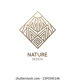 Vector logo of geometric landscape template. Rhombic sacred symbol. Outline icon of abstract nature - business emblem for design tattoo, packaging, zen, ecology, health concepts, yoga Center.
