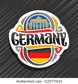 Vector logo for Germany country, fridge magnet with german flag, original brush typeface for word germany and german national symbol - Brandenburg gate in Berlin on blue evening cloudy sky background.