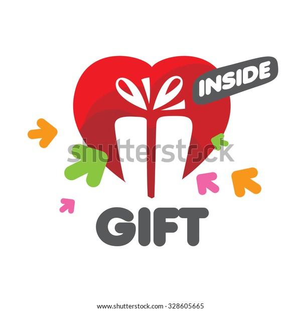 vector logo Gift Box and heart
