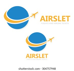 Vector logo globe with airplane