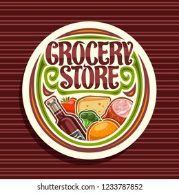 Vector logo for Grocery Store, white round signage with pile of fresh variety farming fruits and vegetables, original typeface for words grocery store, sticker for farmer department in hypermarket.
