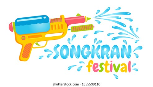 Vector logo gun for Songkran festival in Thailand. Logo for water festival with gun.