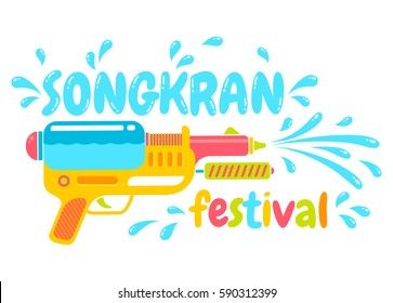 Vector logo gun for Songkran festival in Thailand. Logo for water festival with gun