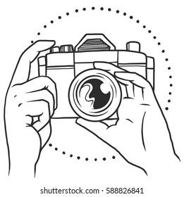 Vector logo of hands holding camera, hand drawn in black