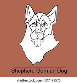 Vector logo head of the German Shepherd dog on brown background. It's good for pet shop, pet house, pet clinic, dog care, or other pet activity.