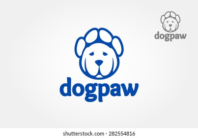Vector logo of head and paw on a white background. It's good for pet shop, pet house, pet clinic, dog care, or other pet activity.