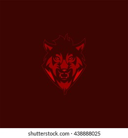 Vector Logo head of a wolf design template. flat style design.