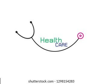 Vector Logo for health care phonendoscope on white background.Vector Illustration EPS 10.