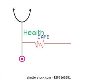 Vector Logo for health care phonendoscope with heartbeat on white background.Vector Illustration EPS 10.