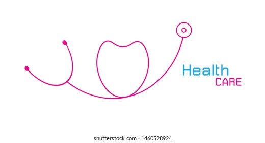 Vector Logo for health care phonendoscope on white background.Vector Illustration EPS 10.
