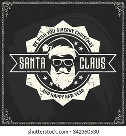 Vector logo of hipster Santa Claus fashion label silhouette with wishes of Merry Christmas, Happy New Year and cool beard and glasses on blackboard background for greeting card or poster