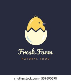 Vector logo for home business with products from chicken meat and eggs. Poultry Farm illustration.