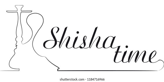 "Vector logo for hookah bar ""Shisha time"", in shape and silhouette style, isolated on white background"