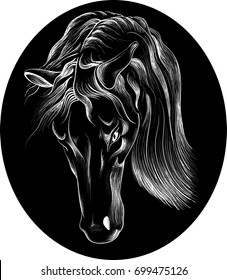 The Vector logo horse for T-shirt design or outwear.  Hunting horse  style background.