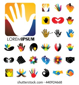 vector logo icon designs of hands and feet. this represents concepts like meditation & yoga, love & commitment, care & hope, family & children, expressions & creativity, business deals, handshakes