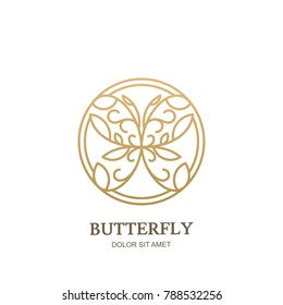 Vector logo icon, emblem with linear style golden floral butterfly in circle shape. Abstract modern design template. Concept for luxury jewelry, accessories store, beauty spa salon, cosmetics shop.