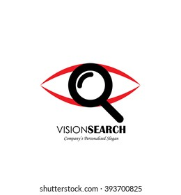 vector logo icon of eyes and search symbol. also represents deep observation, scrutinizing, perceive, secret agent, spy, detective, sleuth
