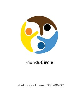 vector logo icon of people in circle. also represents dependency, cooperation, respect for each other, care and empathy, etc