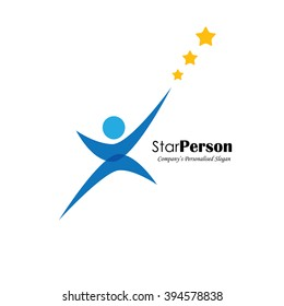 vector logo icon of person aiming for stars. also represents aiming high, reaching stars, winning performance, trying hard, success