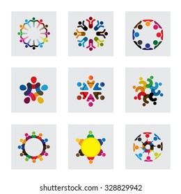 vector logo icons of people together - sign of unity, partnership, leadership, community, engagement, interaction, teamwork, team, children, kids, employees, meeting, playing, fun time