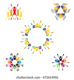 vector logo icons of people together - sign of unity, partnership. this also represents community, engagement & interaction, teamwork & team, children playing, kids fun, employees & staff, office, etc